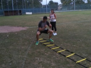 Agility ladder squats